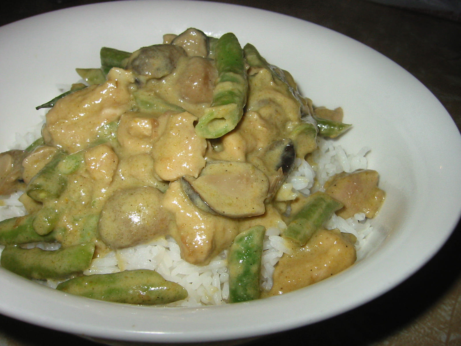 Thai green chicken curry and rice