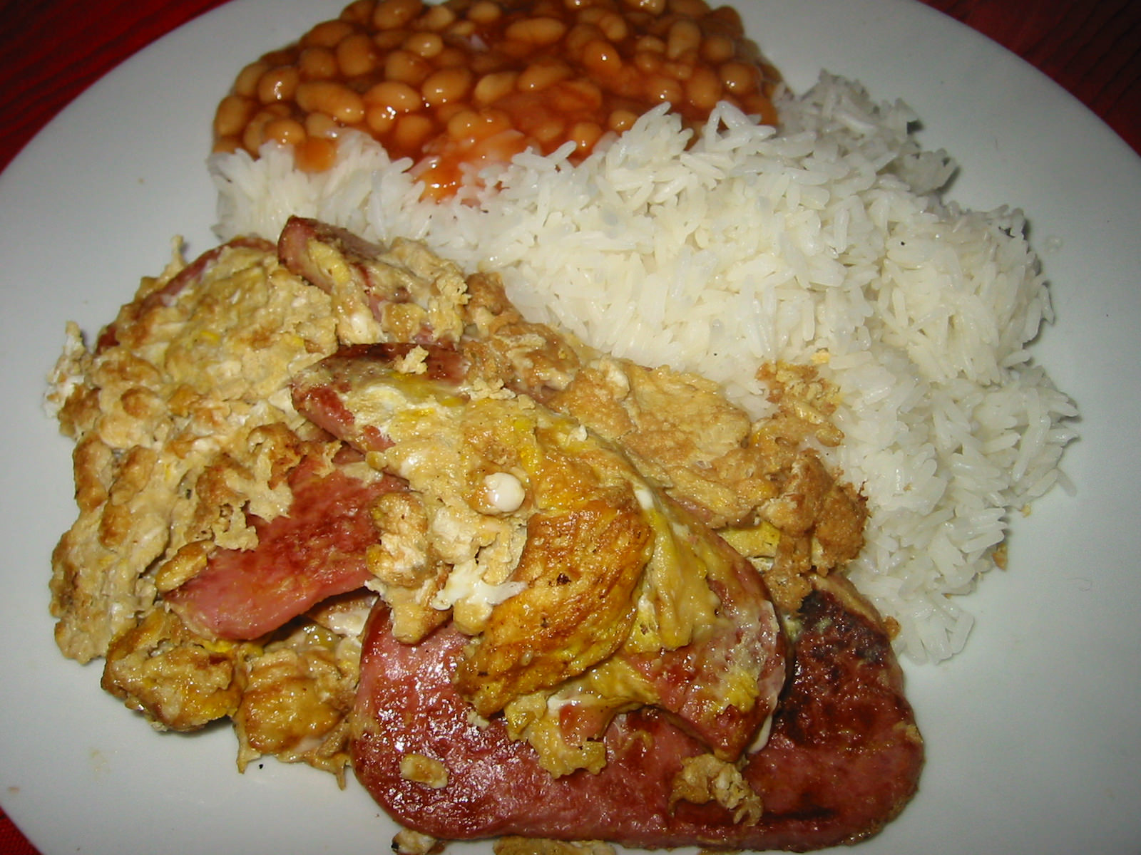 SPAM and egg, rice and baked beans