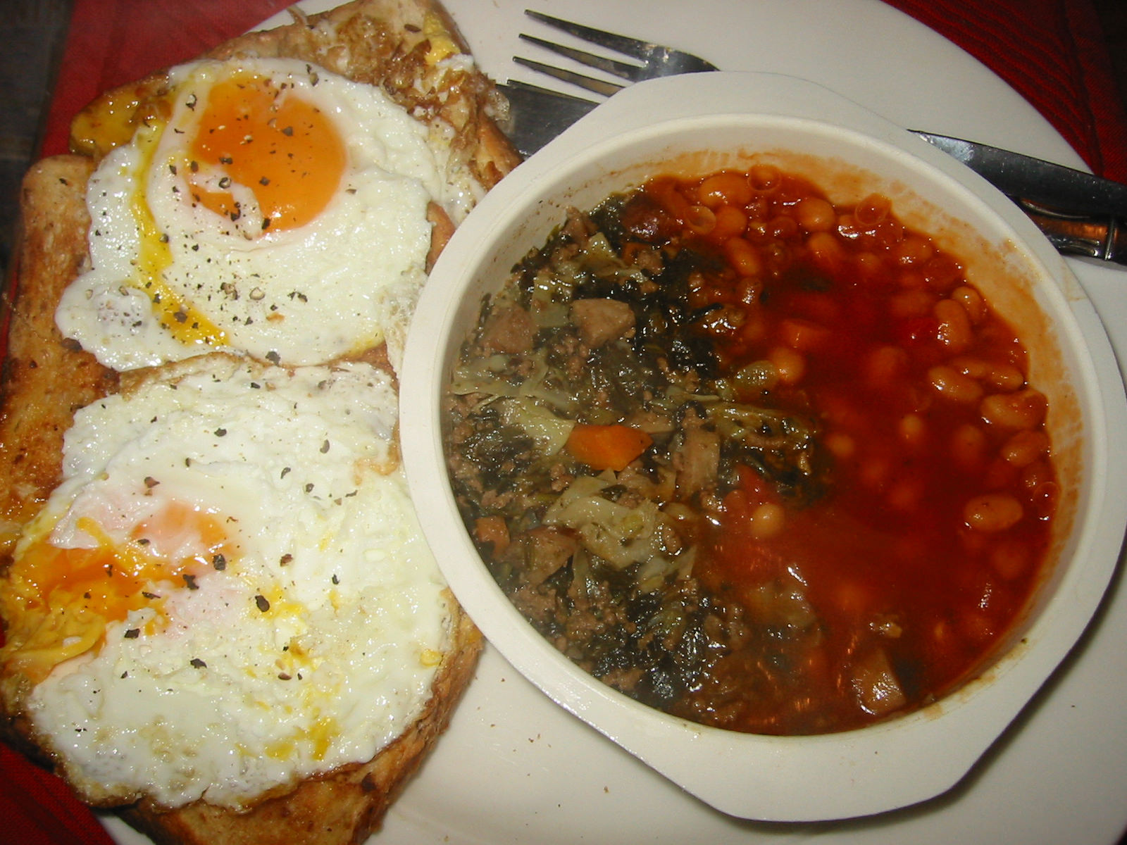 Eggs on toast, savoury mince and baked beans