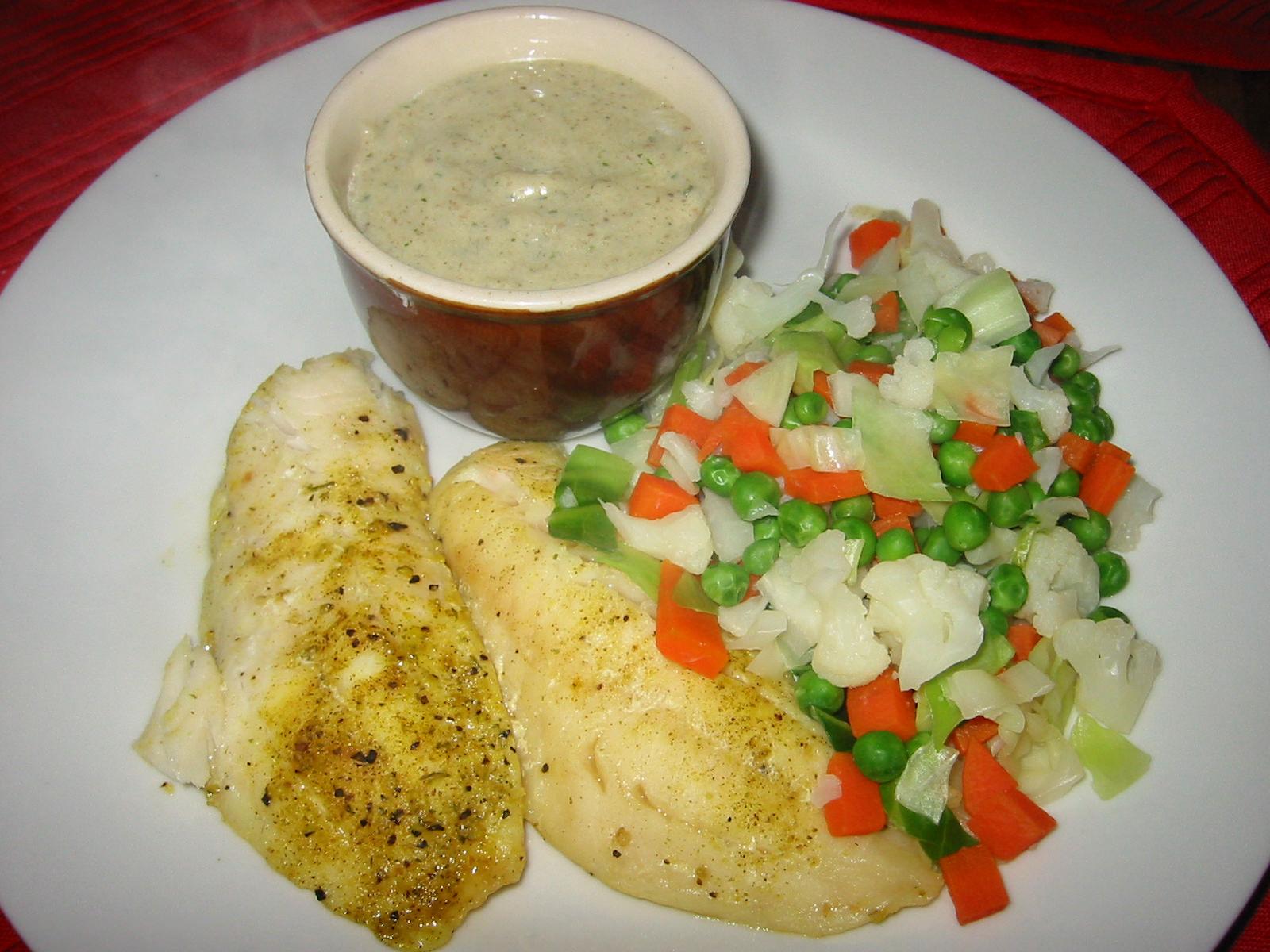 Lemon pepper snapper, steamed veg and garlic/parsley sauce