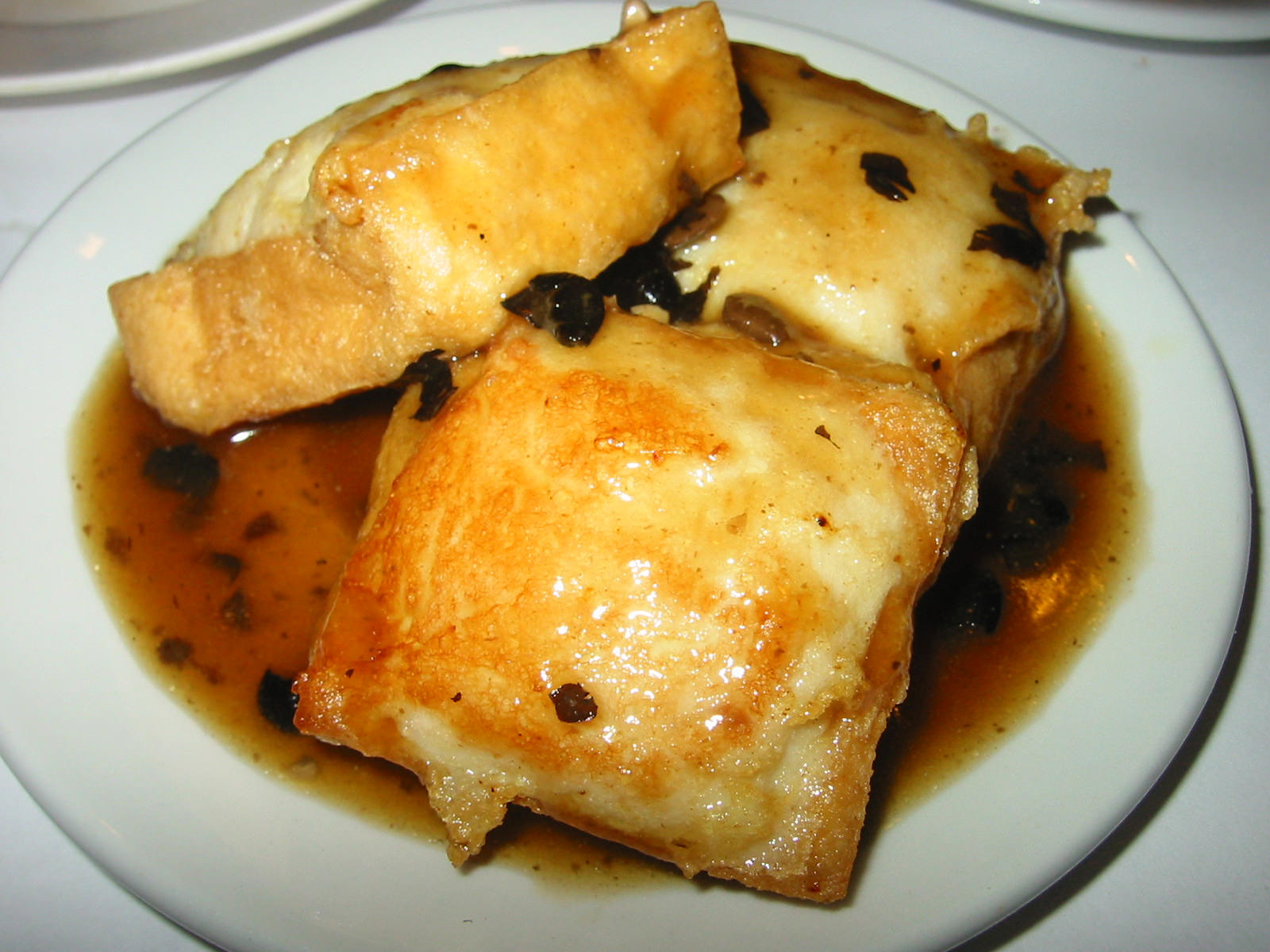 Stuffed tofu with black bean sauce