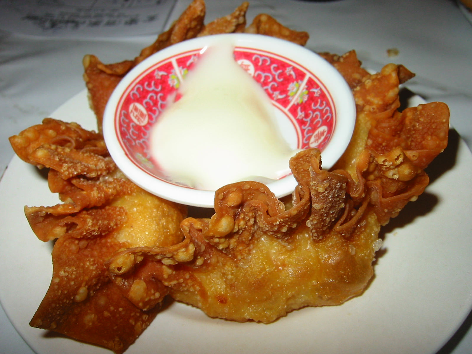 Deep fried prawn dumplings with mayonnaise