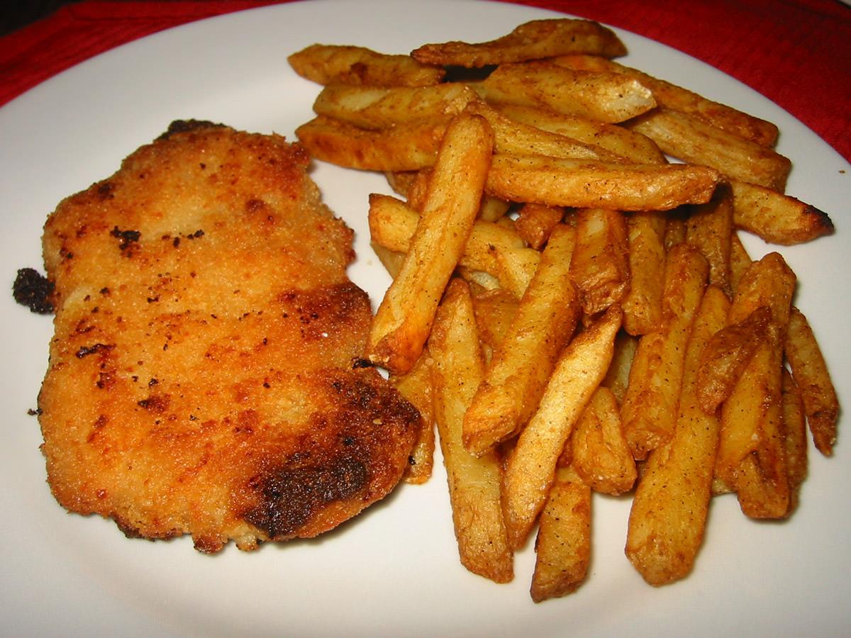 Chicken schnitzel and chips