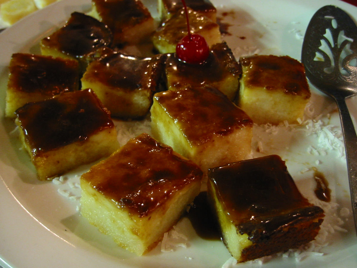 Cassava pudding with caramel glaze