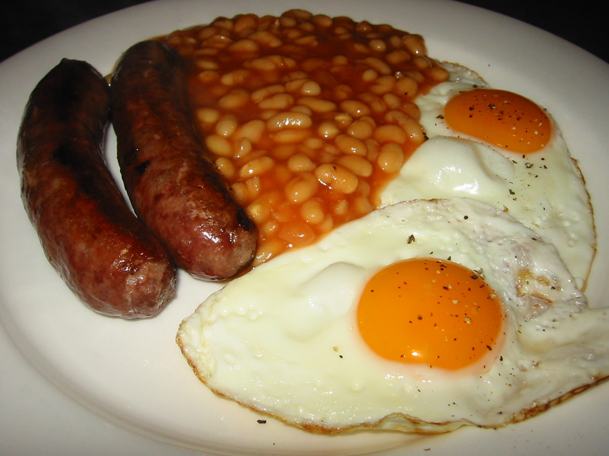 Sausages, eggs and baked beans