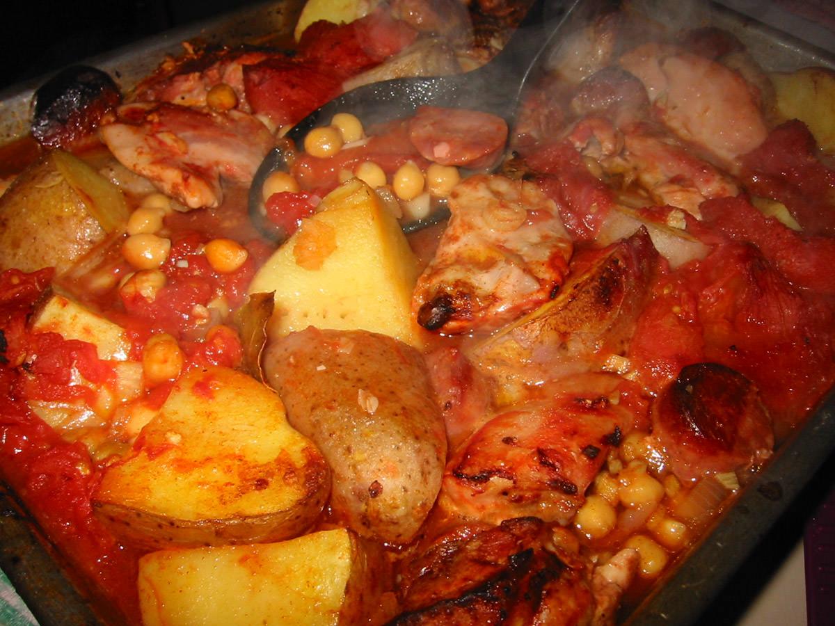 Chicken, chorizo, potato, chick pea and tomato casserole