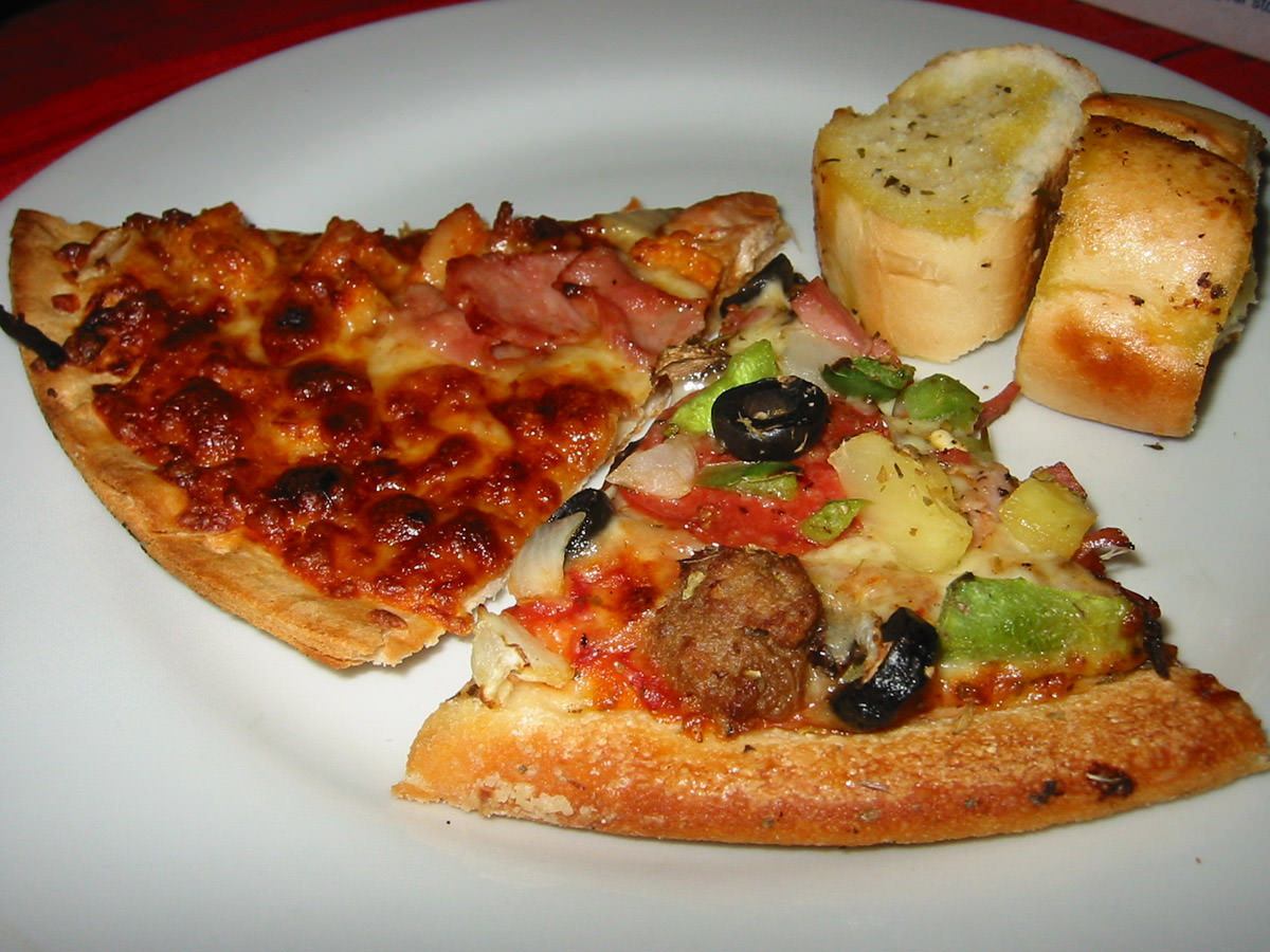 Pizza and garlic bread