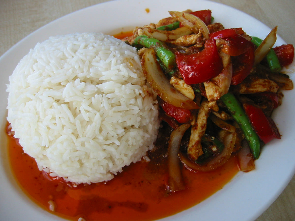 The new guy's chilli chicken rice