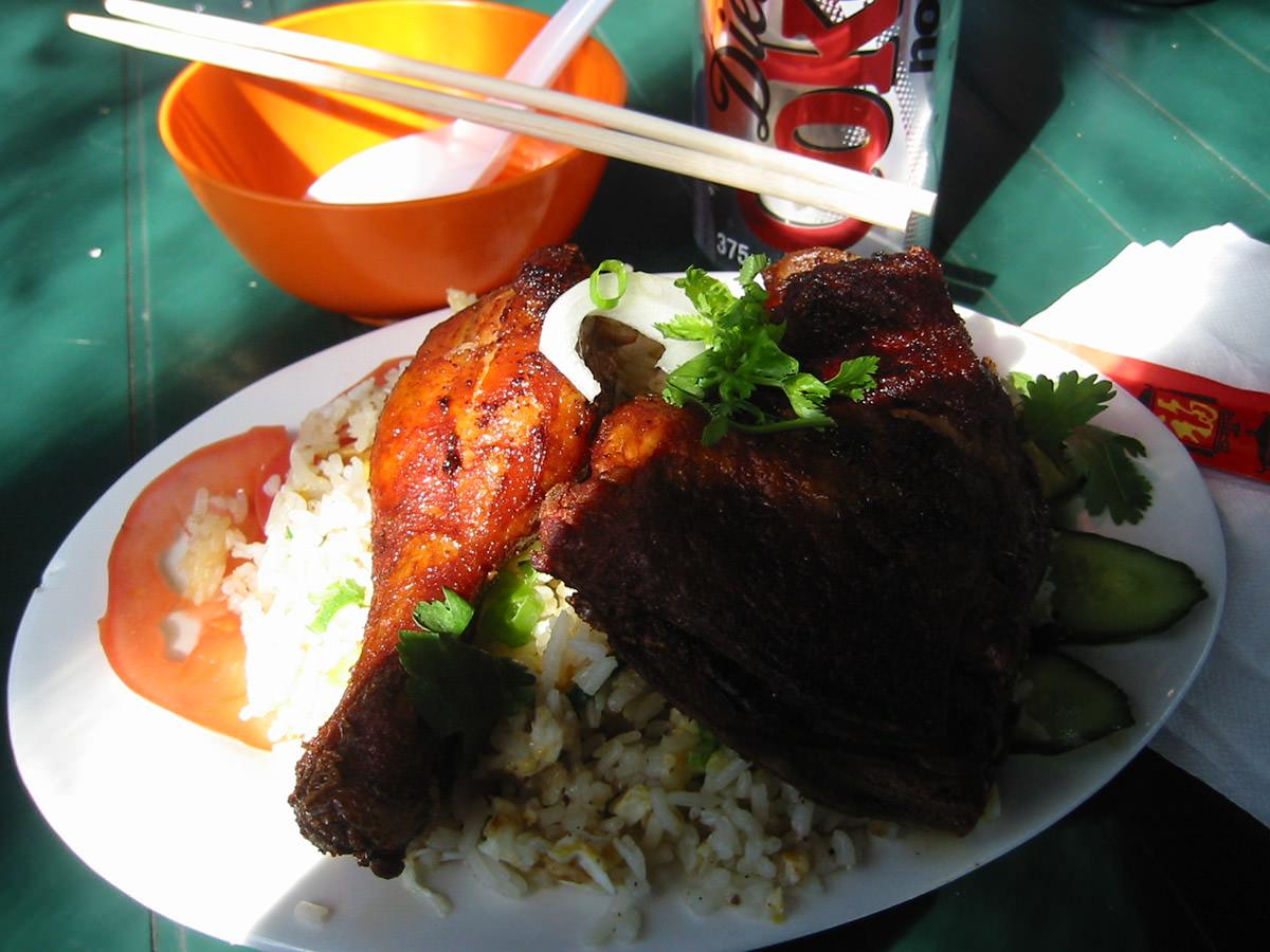 Saigon crispy fried chicken rice with Diet Coke