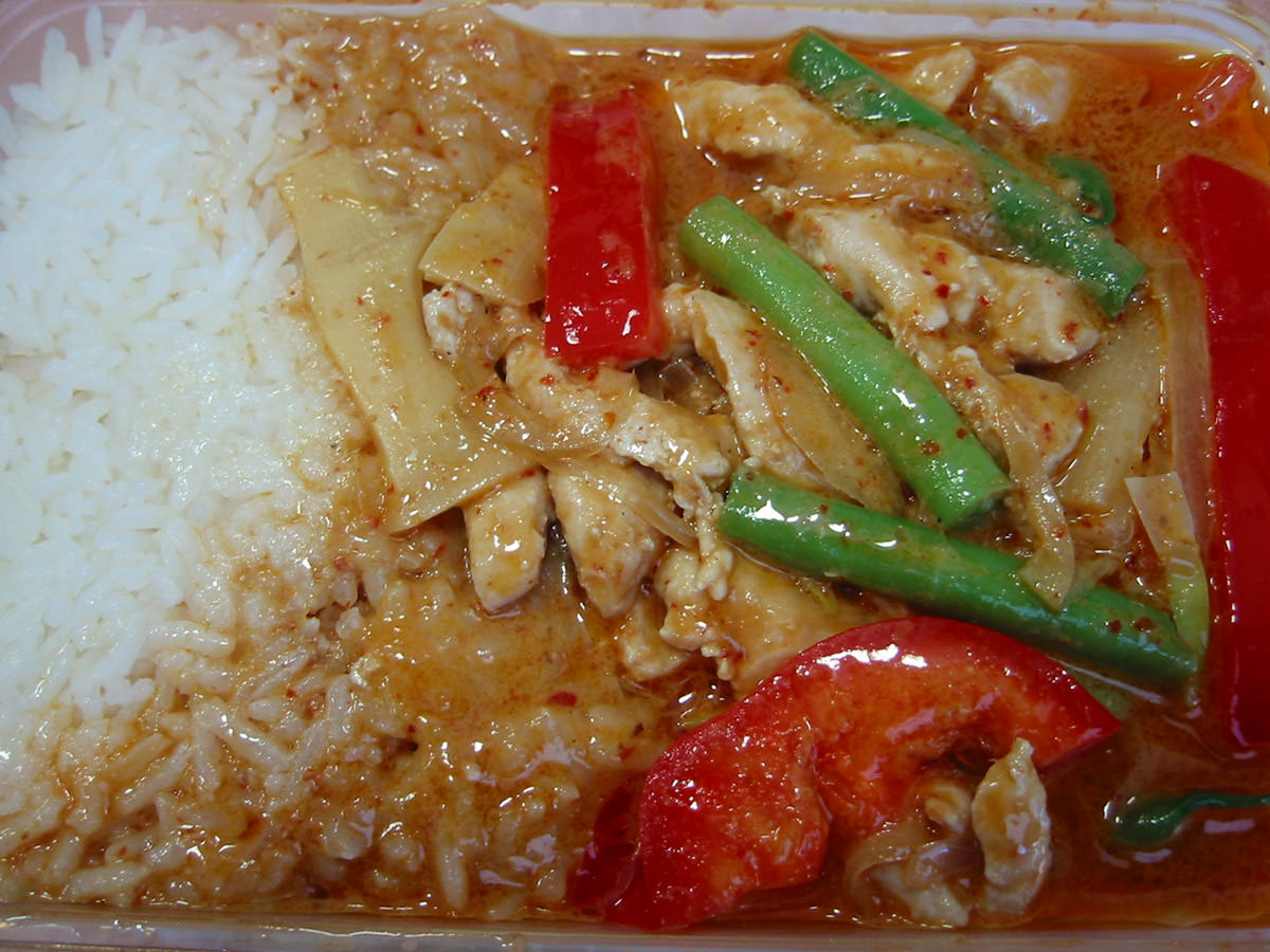 Thai red chicken curry and rice