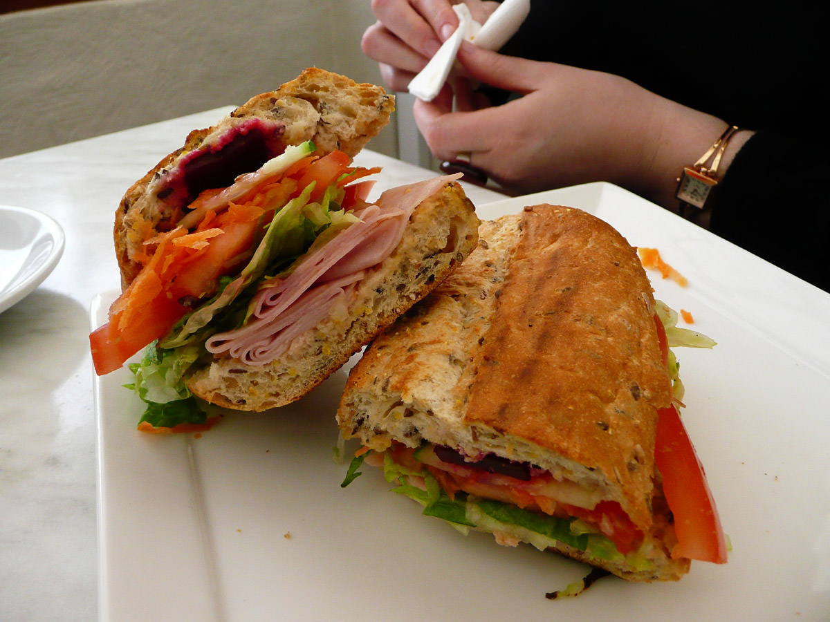 Toasted ham and salad roll