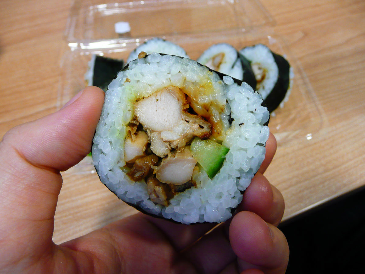 Chicken sushi close-up