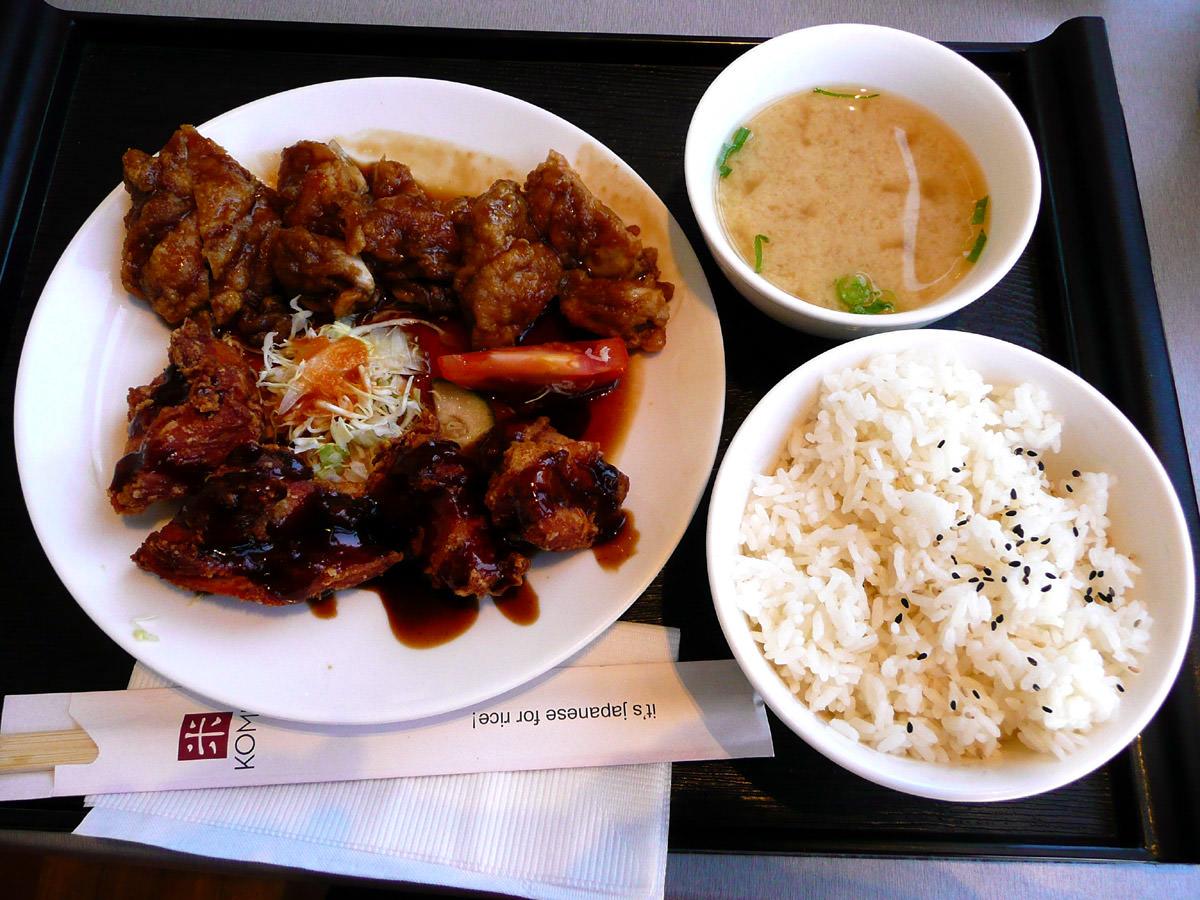 Combination meal with chicken teriyaki and karaage