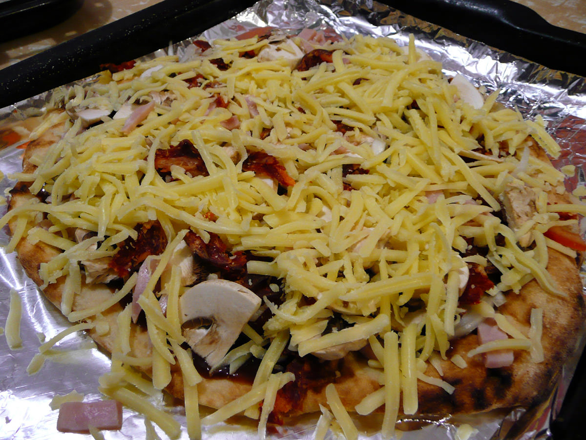 BBQ meat and mushrooms cheesed