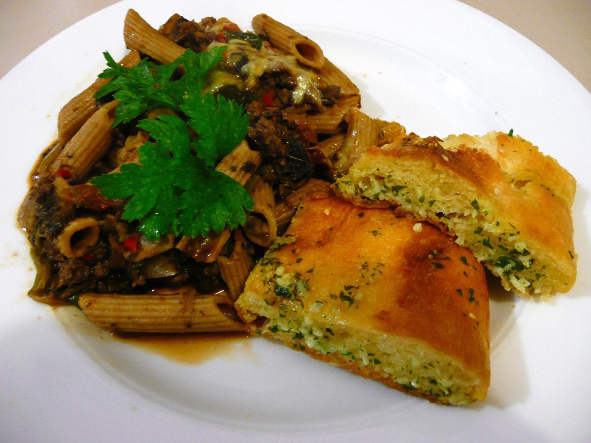 Pasta bake and garlic bread
