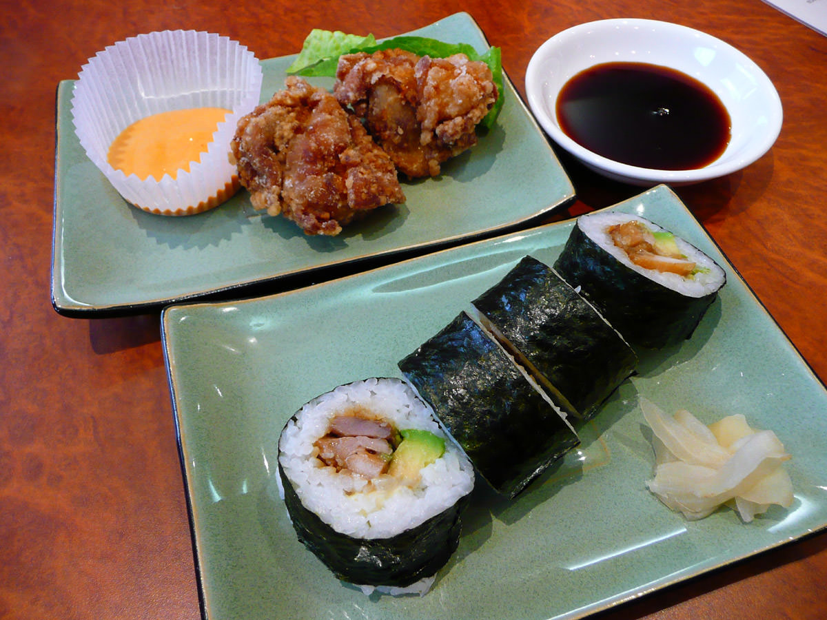 Chicken karaage and sushi