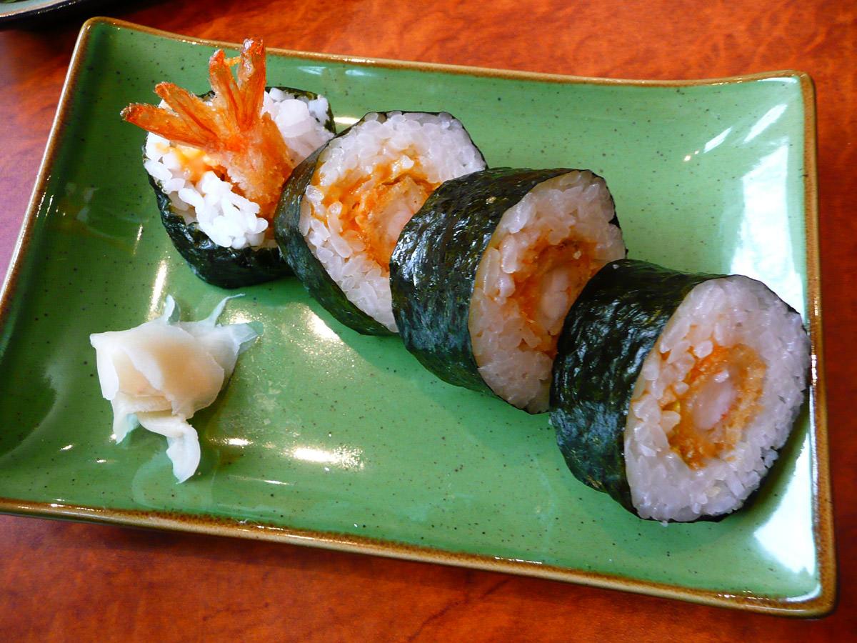 Crumbed prawn sushi