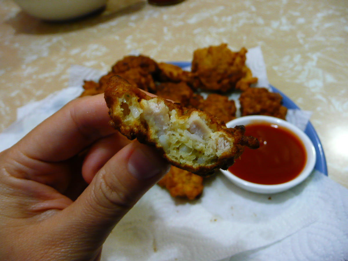 Chicken and noodle fritter innards