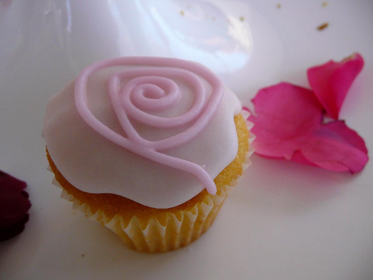 Iced vanilla cupcake