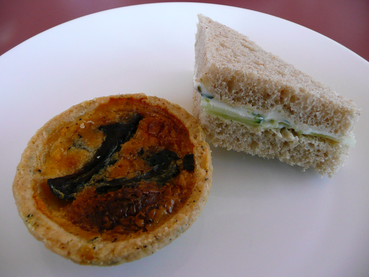 Mushroom baby quiche, cucumber and cream cheese sandwich