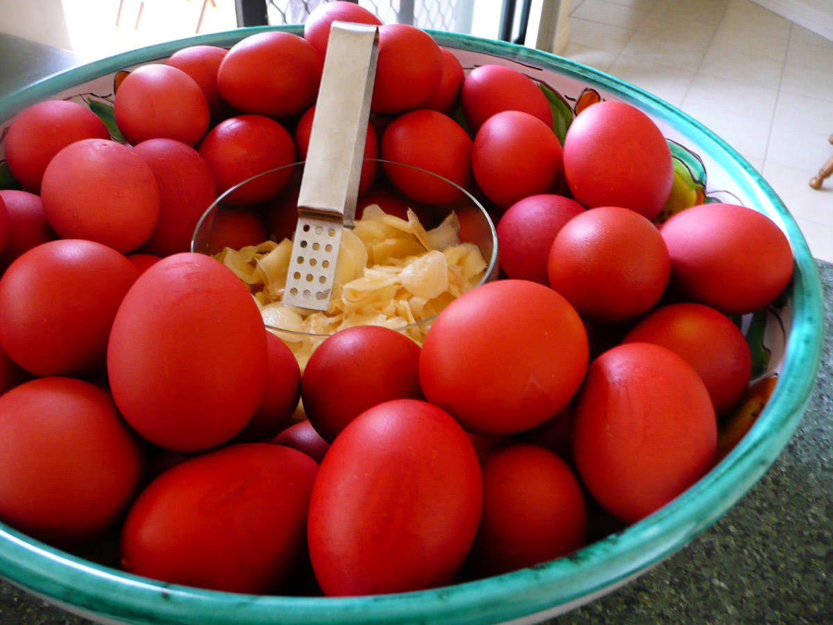 Red eggs with pickled ginger