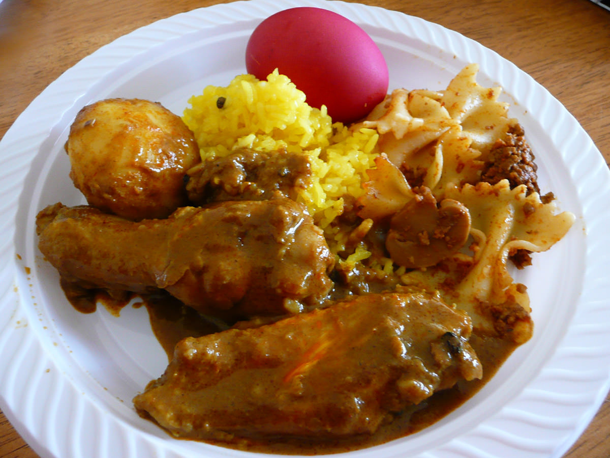 My plate - nasi kunyit and curry chicken with red egg