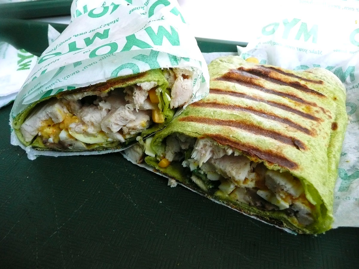 Toasted spinach wrap