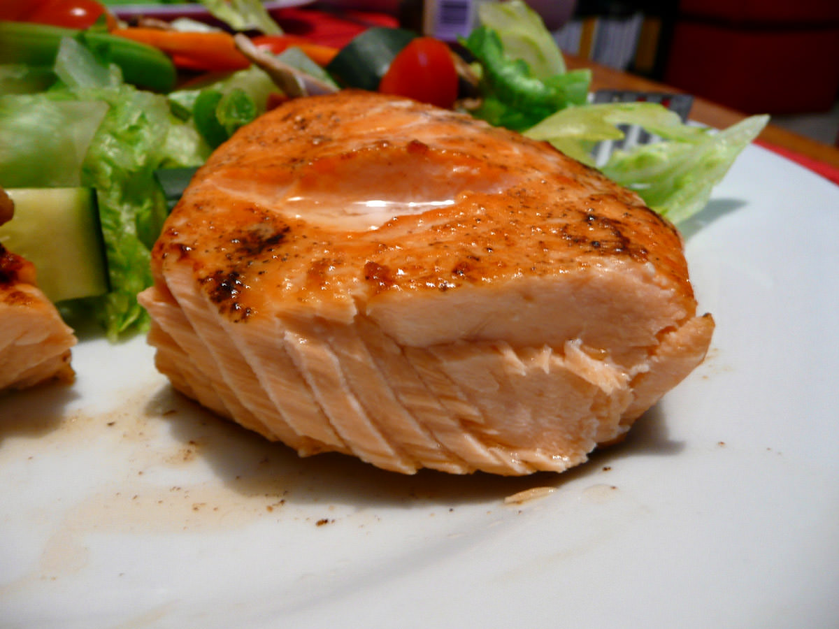 Grilled salmon cross-section