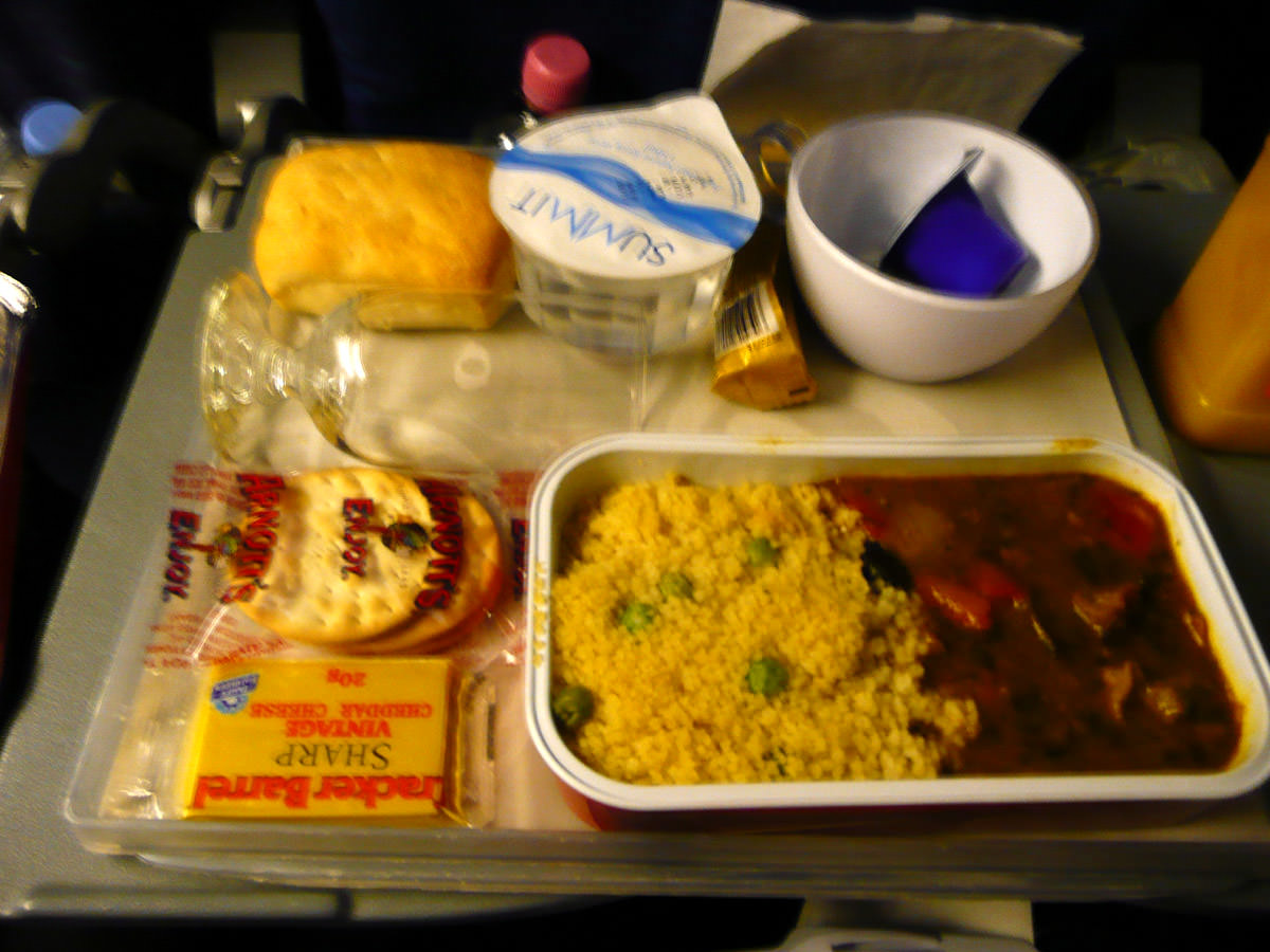 Airline meal - braised lamb chermoula with cous cous