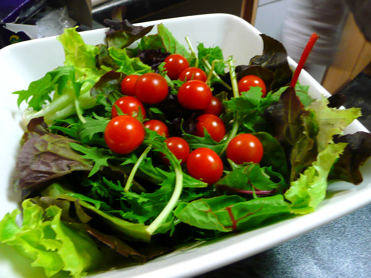 Salad with homegrown cherry tomatoes