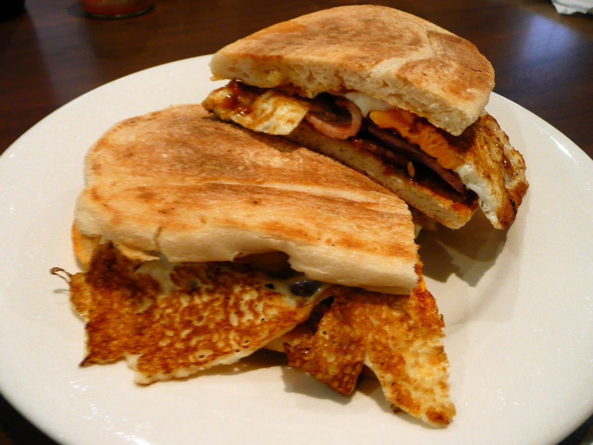 Fig Tree's Famous Double Bacon and Egg Roll with BBQ Sauce