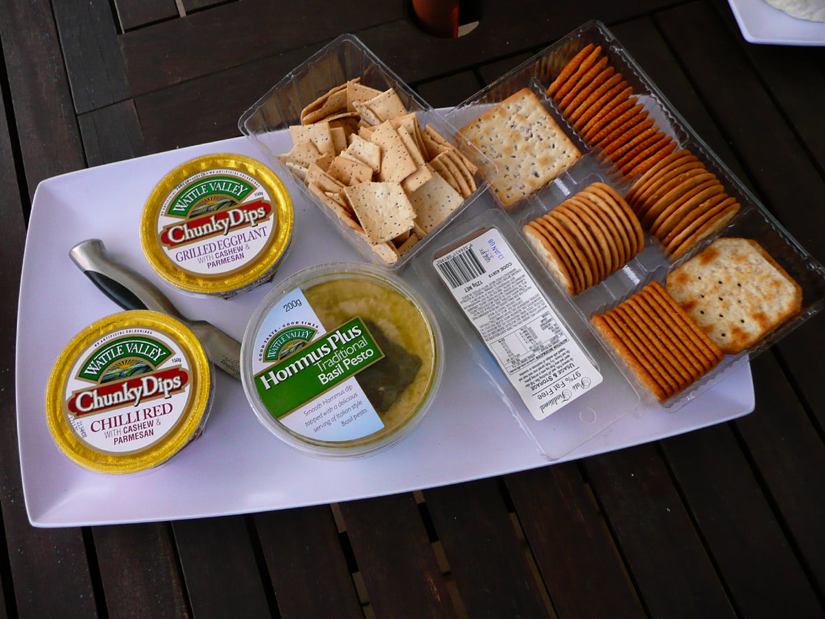 Dips and crackers
