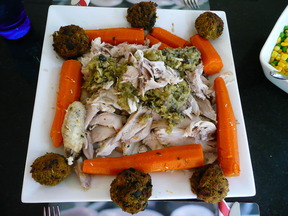 Chicken, carrots and stuffing done two ways