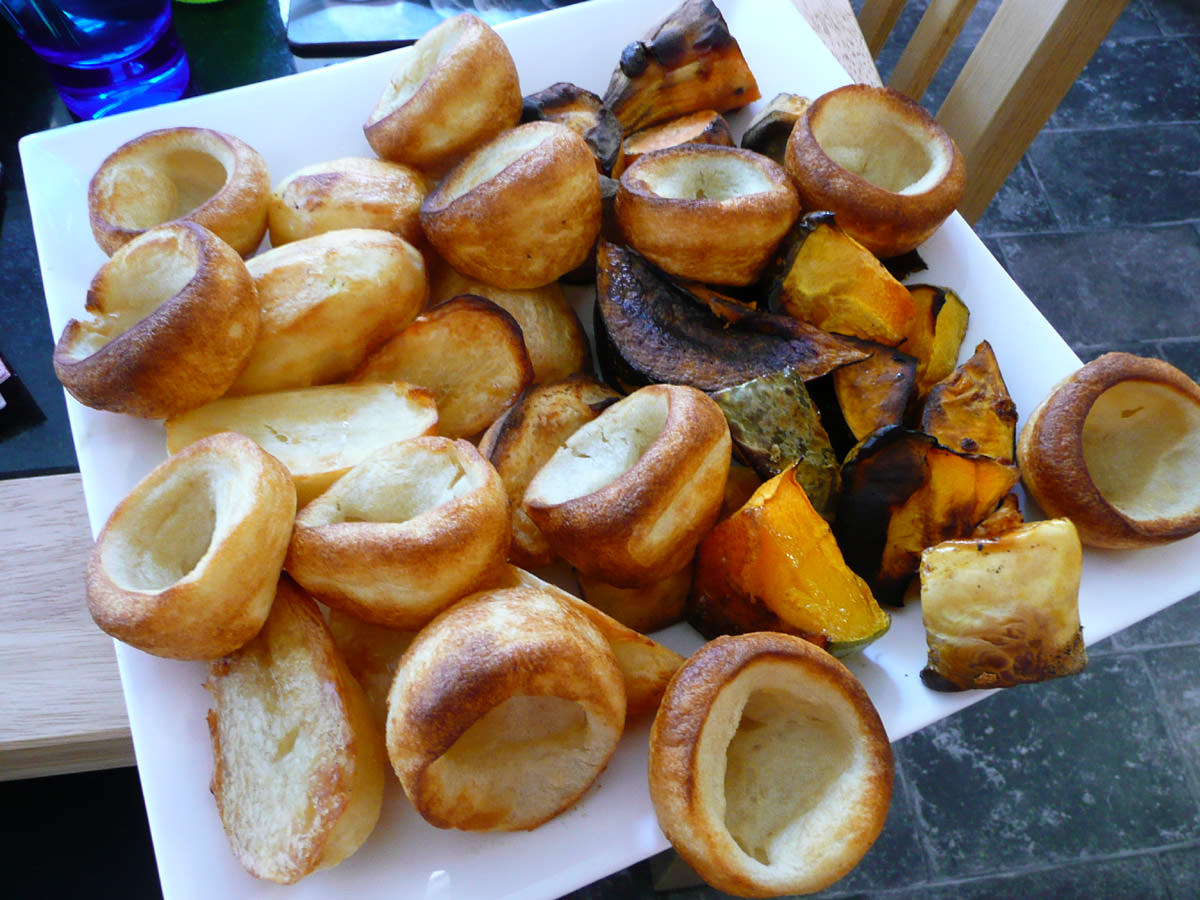 Yorkshire puddings and baked vegies
