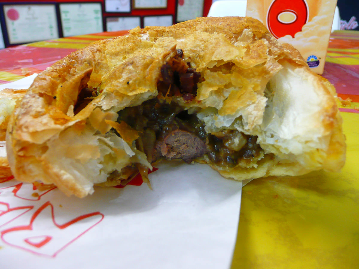 Lambs fry and bacon pie innards