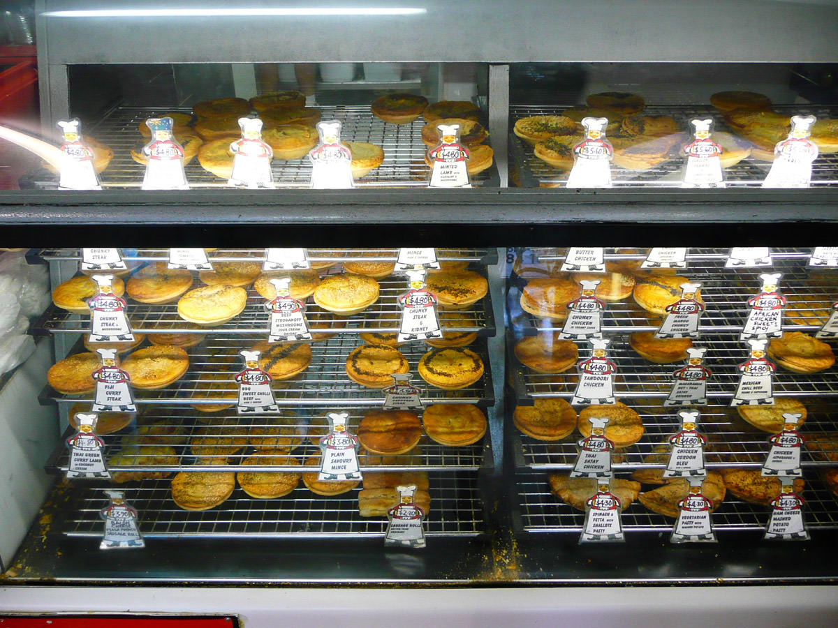 Pies on display