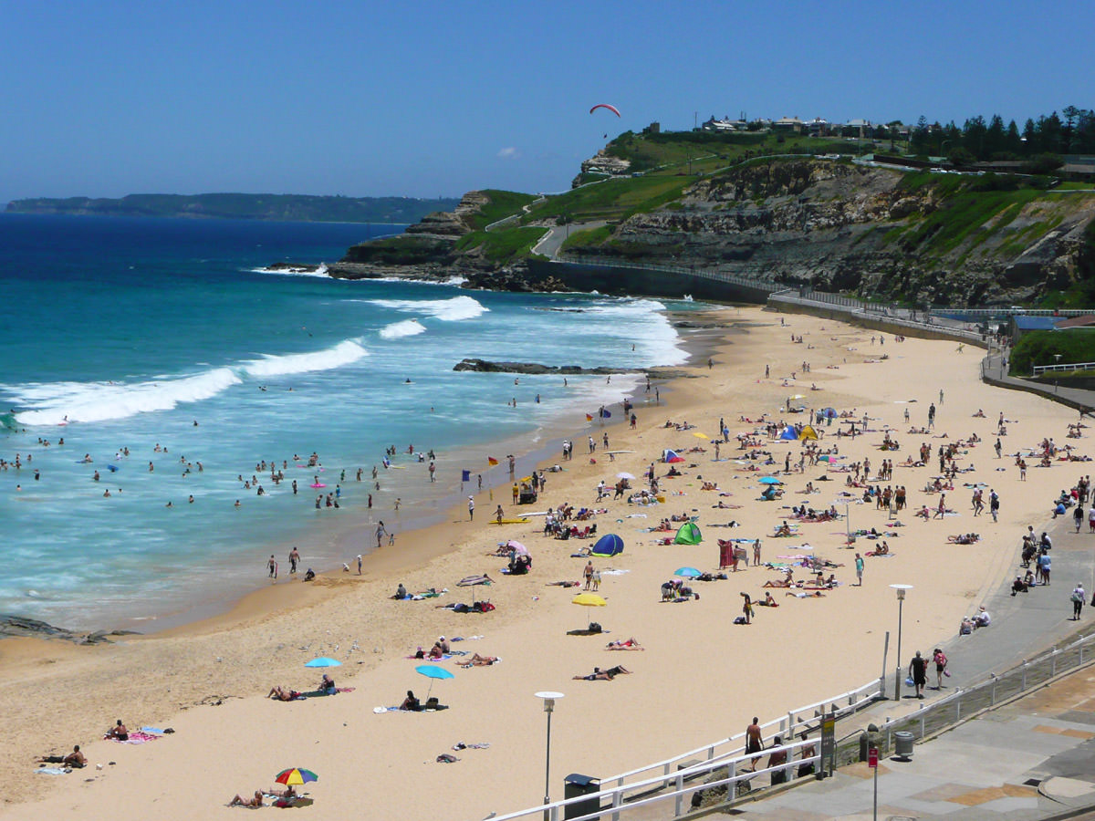 View of Newcastle Beach, zoomed in