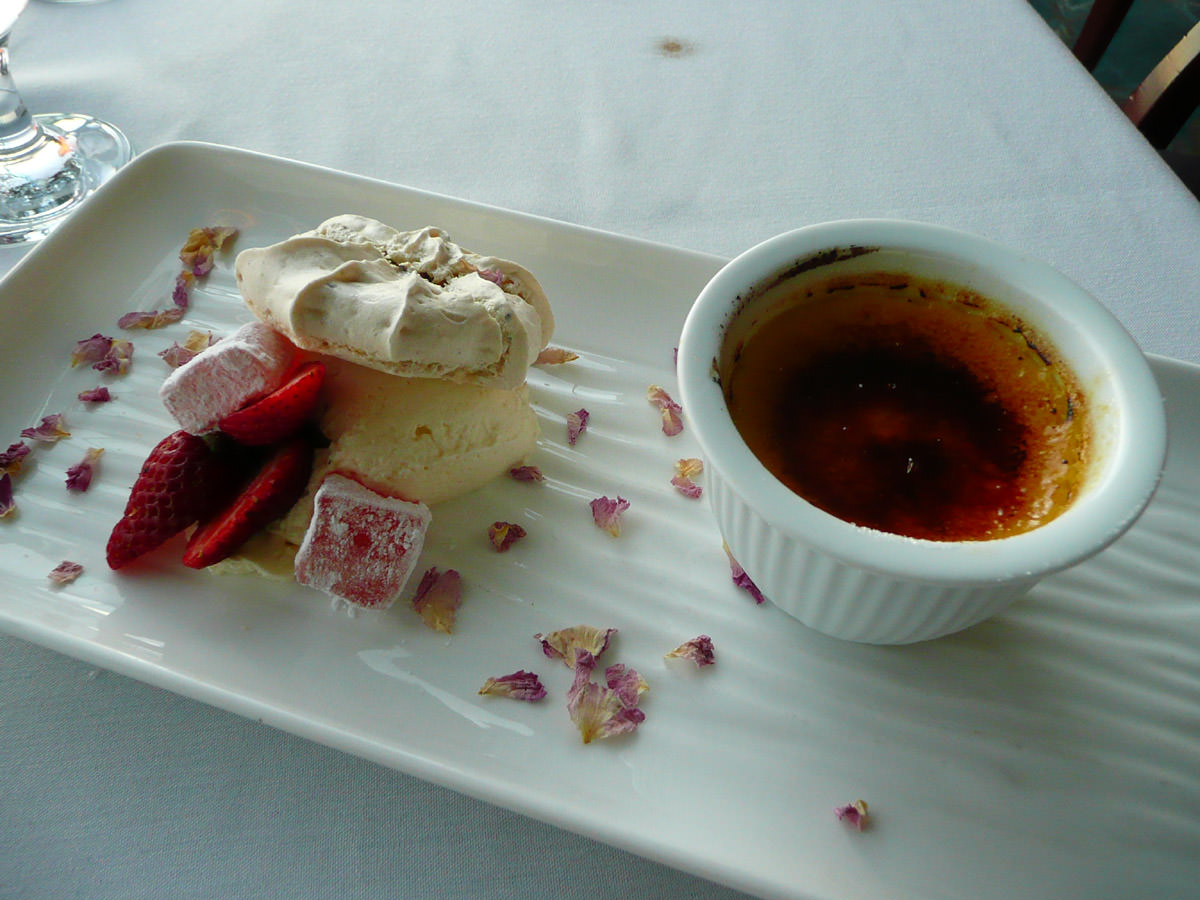 Turkish delight creme brulee with Pistachio nut macaroons