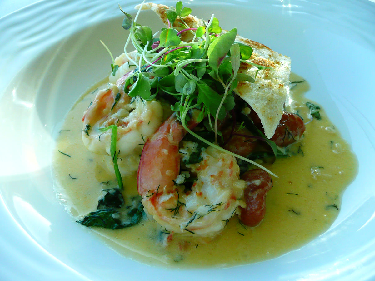 Sauteed king prawns with sweet potato gnocchi