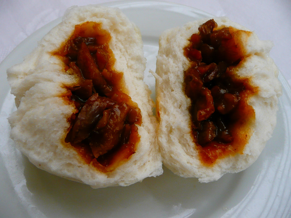 Char siu pao (BBQ pork steamed buns) innards