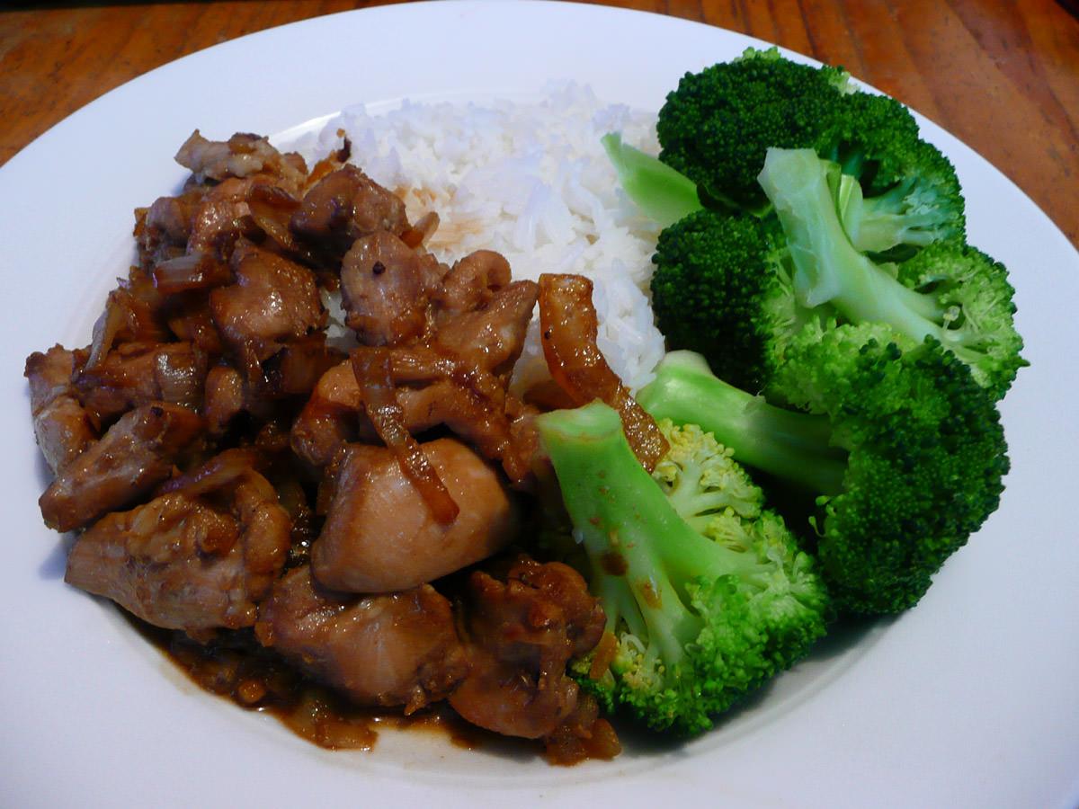Teriyaki-marinated chicken, rice and steamed broccoli