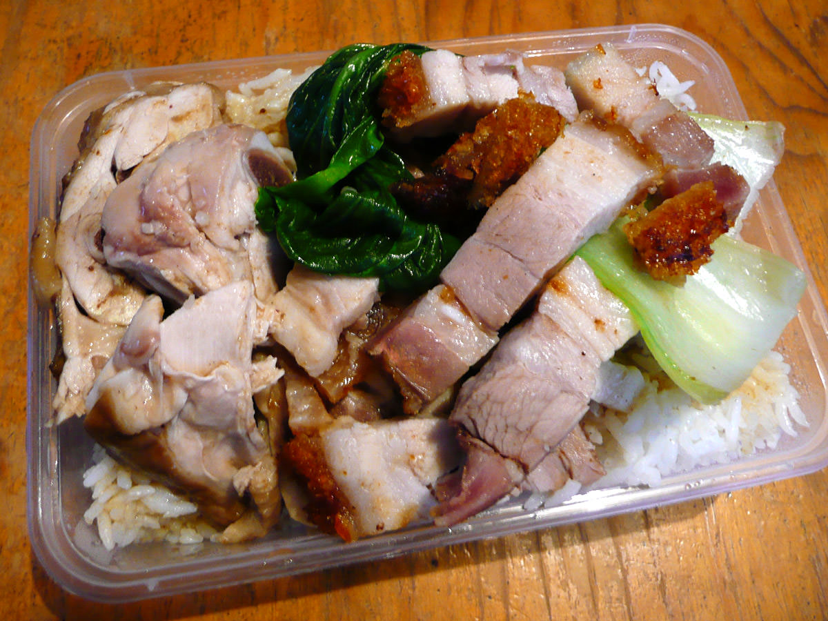 Barbecue combination - roast pork and herbed chicken