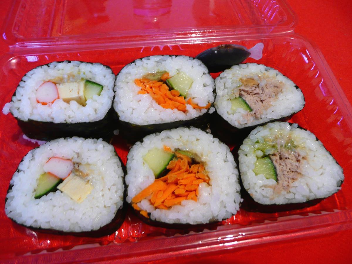 California roll, vegetarian, cooked tuna