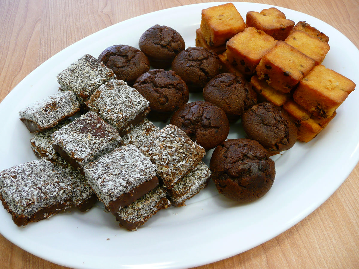 Lamingtons, chocolate muffins, choc chip cakes