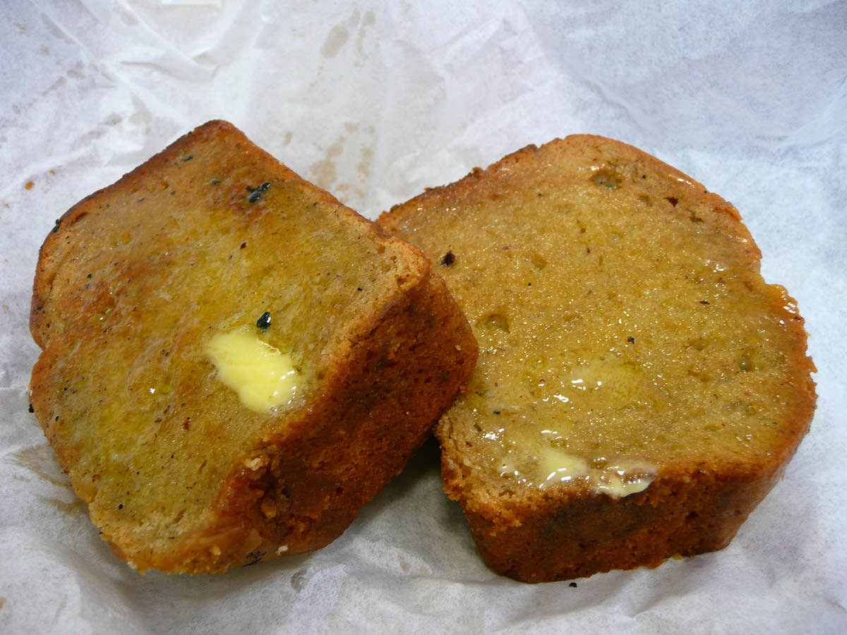 Toasted banana bread with butter