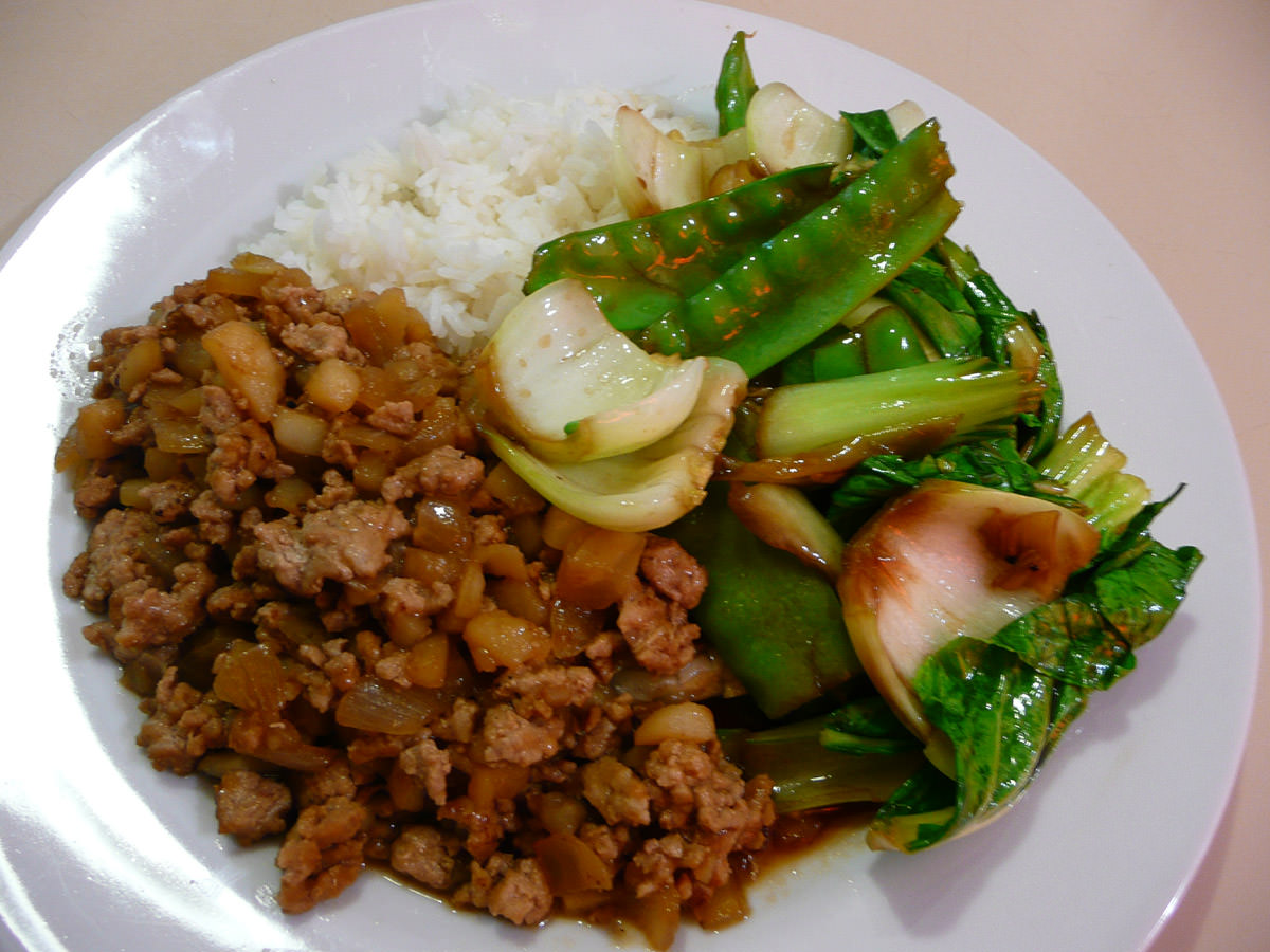 Minchee, rice and stir-fried greens