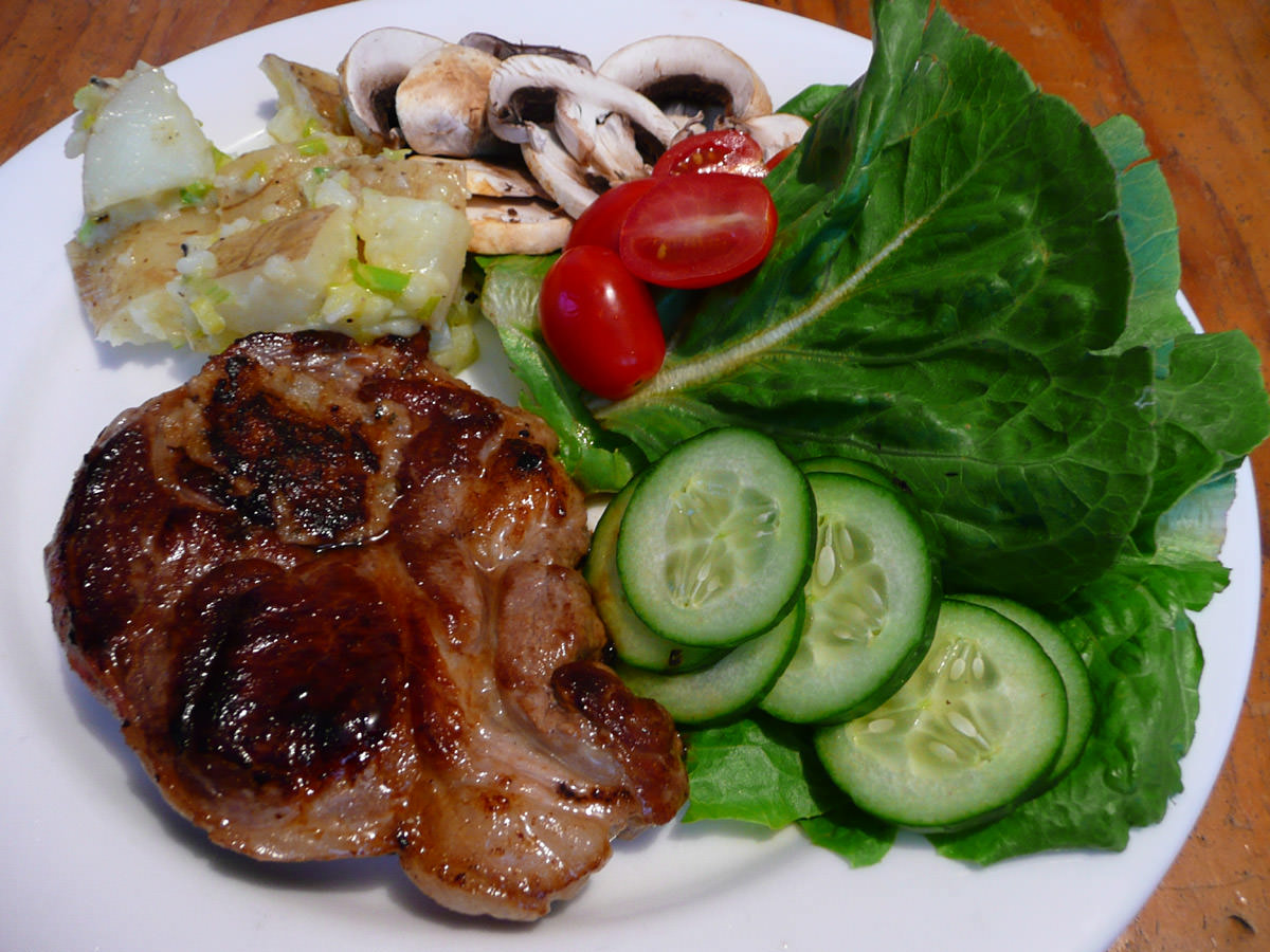 Lamb Delight, salad and creamy sauteed potatoes