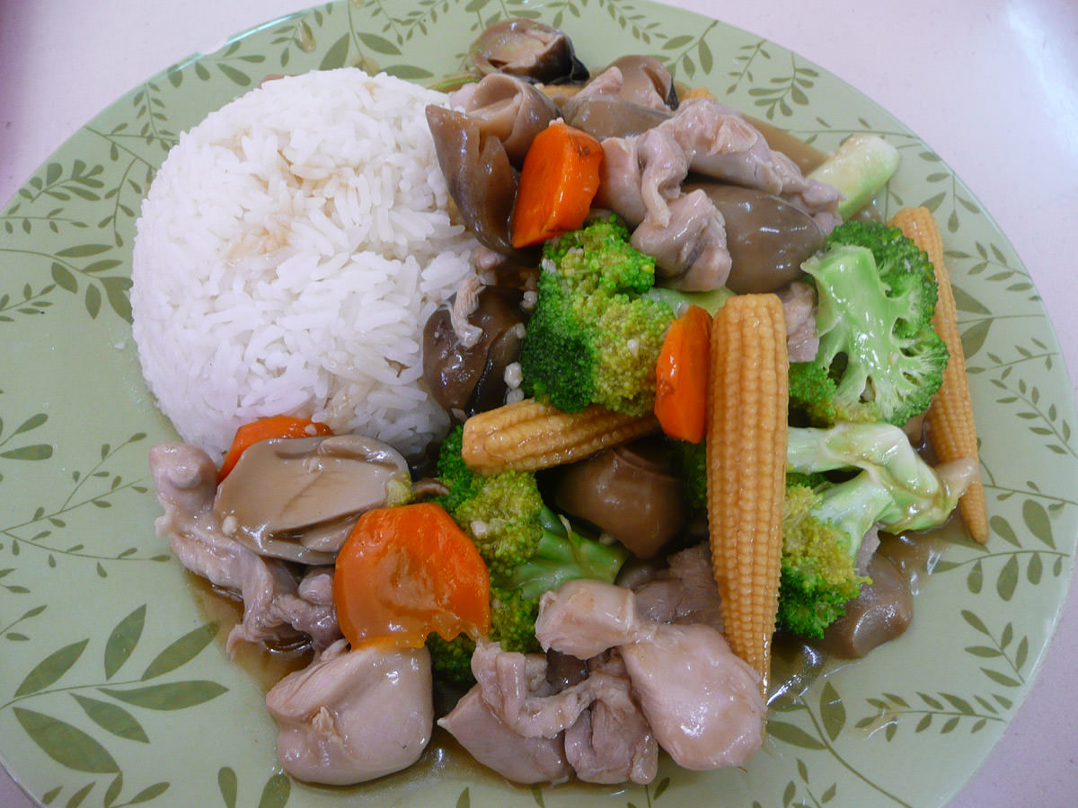 Chicken and vegie stir-fry with rice