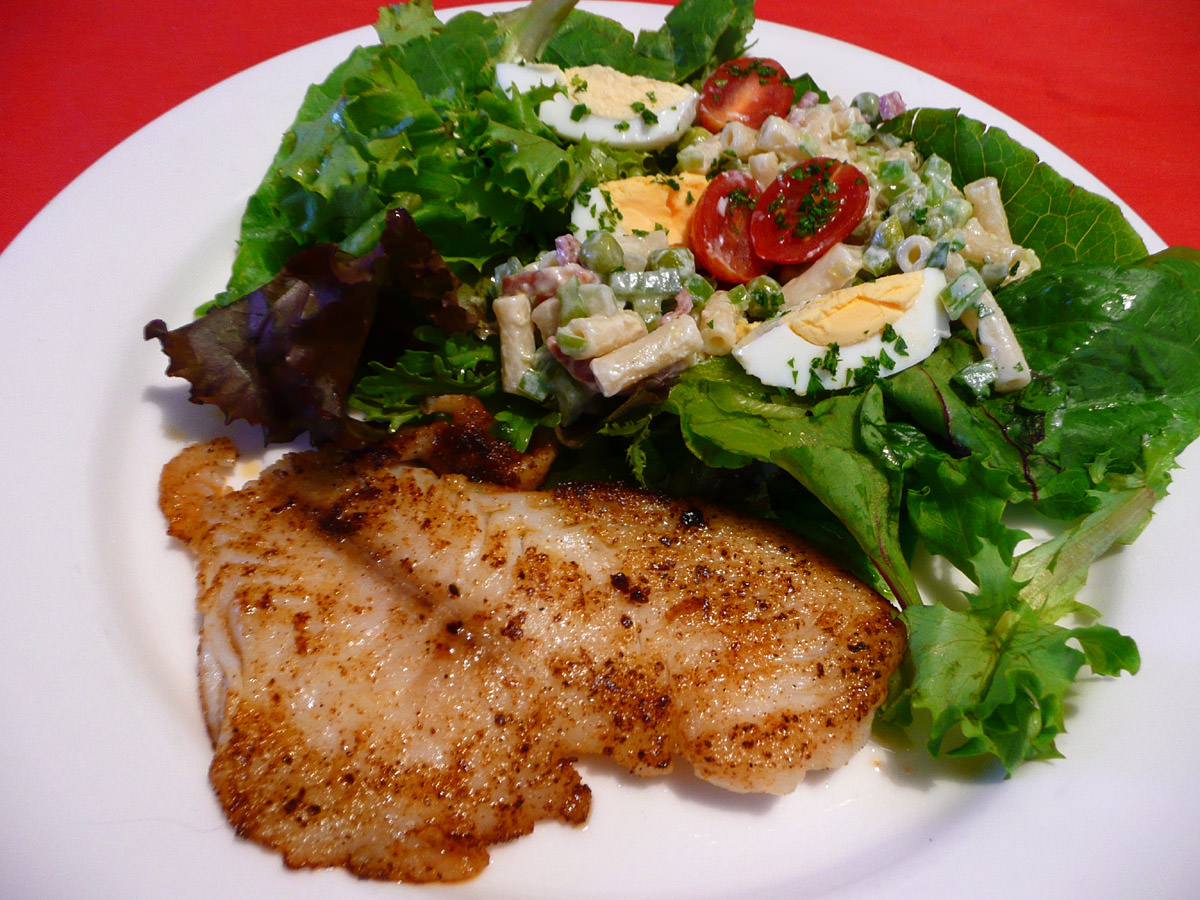 Fish and two kinds of salad