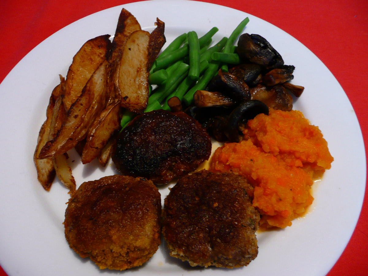 Three kinds of rissoles with vegies